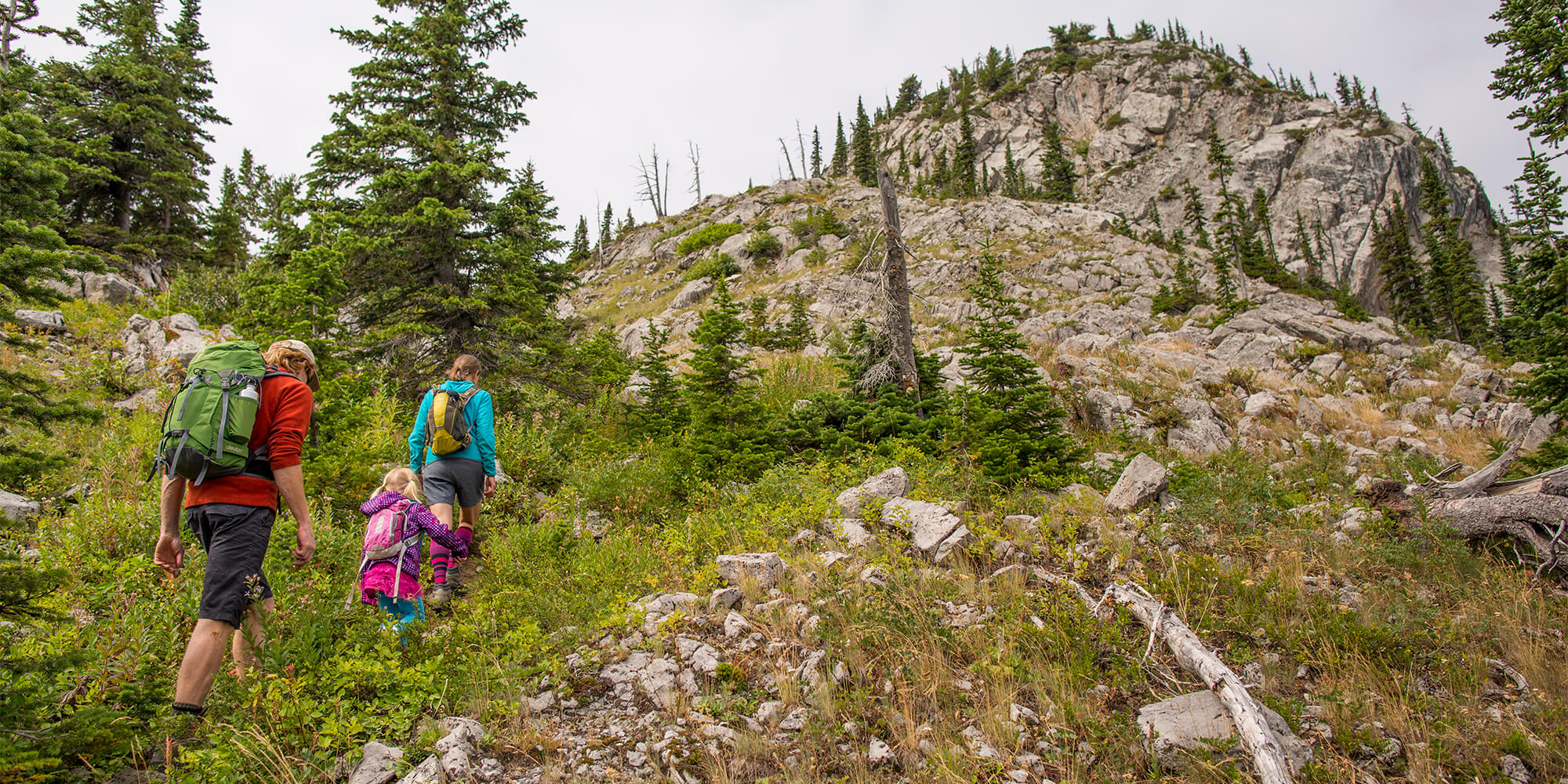 A man, woman, and child hiking in Fernie, BC.
