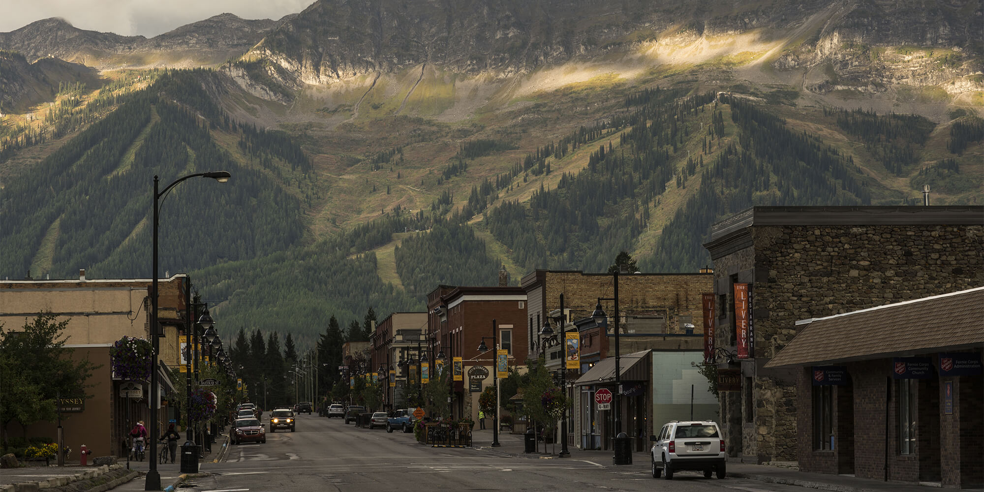 Downtown Fernie, BC at sunset.
