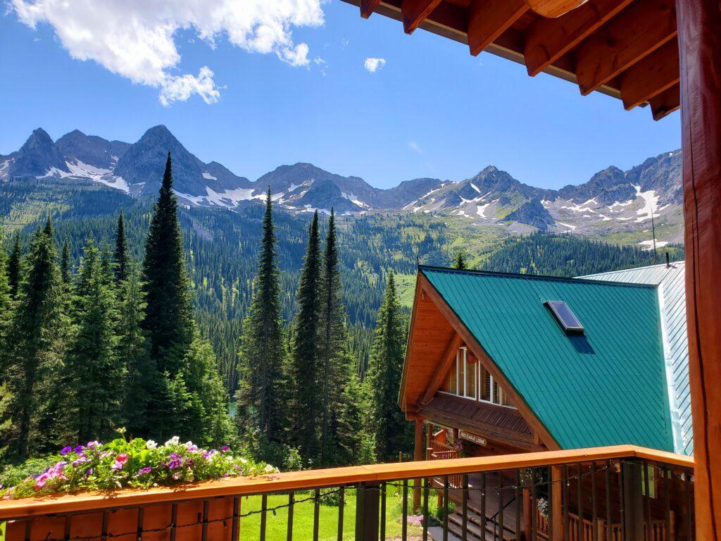 Summer deck view at Island Lake Lodge